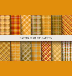 tartan seamless patterns in brown and orange vector image