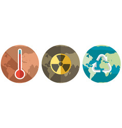 Three planets with different types pollutions vector
