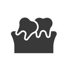 Tilted teeth dental related solid icon vector