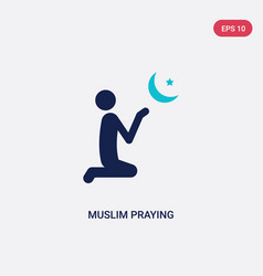 Two color muslim praying icon from cultures vector