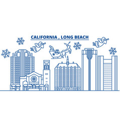 Usa california long beach winter city skyline vector