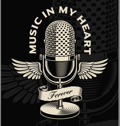 vintage microphone with wings and ribbon in vector image