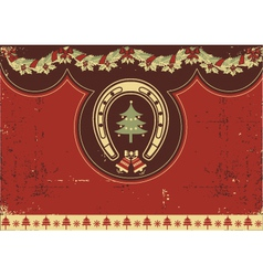 Vintage red Christmas background with horseshoe vector image vector image