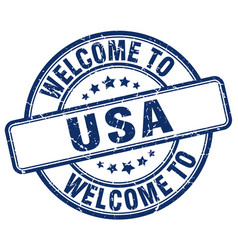 Welcome to usa blue round vintage stamp vector