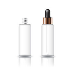 White clear cosmetic round bottle with dropper lid vector