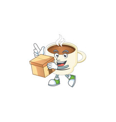 With box character cup coffee in cartoon mascot vector