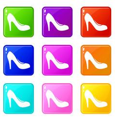 Women shoe with heels icons 9 set vector