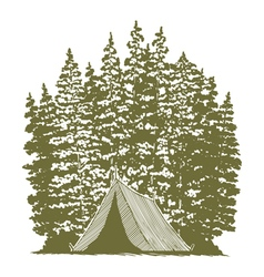 Woodcut Camping Graphic vector