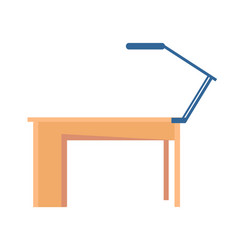 Workplace table and lamp vector