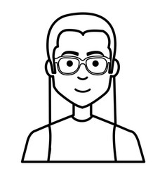 young man casual avatar with glasses vector image