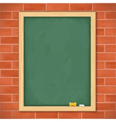 Blackboard on brick wall vector image vector image