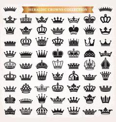 crown icons heraldic big set vector image