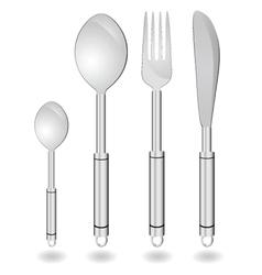 cutlery in silver color vector image vector image