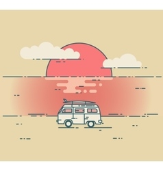 Minivan and sea sunset landscape vector image vector image