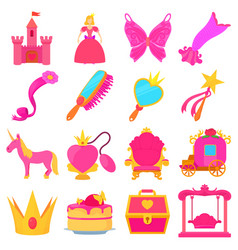 princess accessories icons set cartoon style vector image