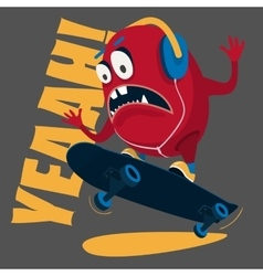 skater monster Stunts on a skateboard vector image vector image