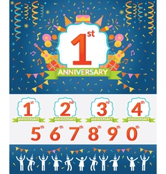 Anniversary Year Celebration and People Party Set vector image vector image
