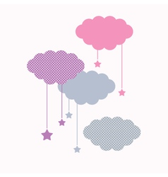 Beautiful cute sleeping clouds with stars vector image vector image