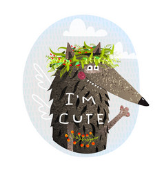 cute wolf with wings vector image vector image