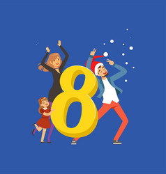 number eight and happy family celebrating new year vector image