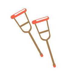 pair of crutches isolated on white vector image