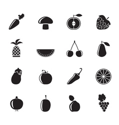 Silhouette Different kinds of fruits and Vegetable vector image