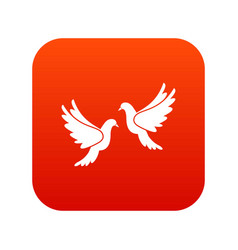 wedding doves icon digital red vector image vector image