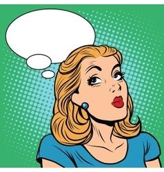 Emoji retro think girl emoticons vector image vector image
