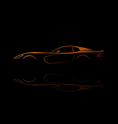 orange sport car silhouette vector image vector image