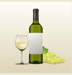 realistic grapes brunch wine glass and vector image vector image