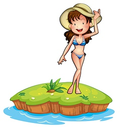 An island with a girl wearing a bikini vector image vector image