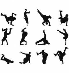 breakdancer silhouettes vector image vector image