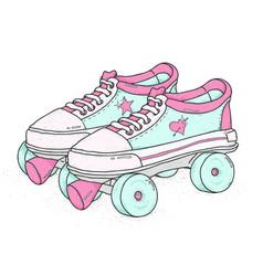 quad roller skates on white background retro vector image
