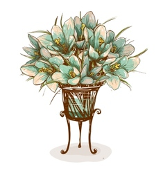 Vintage Flowers in Vase Composition vector image