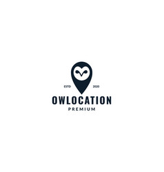 Animal bird owl with pin or location icon logo vector