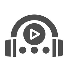 Audio course solid icon headphones and play sign vector