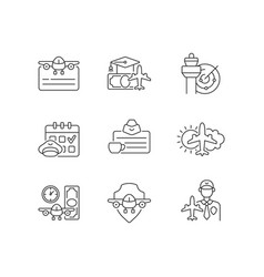 aviation linear icons set vector image