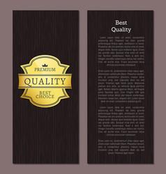 Best quality premium product golden promo label vector