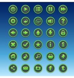Big kit of round buttons with different images for vector image