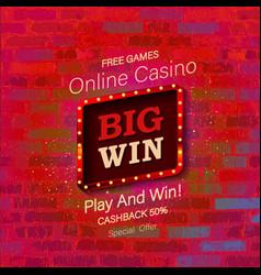 big win casino banner vector image