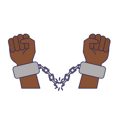 Black hands with chains cartoon vector