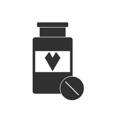 Black icon on white background bank with pills vector
