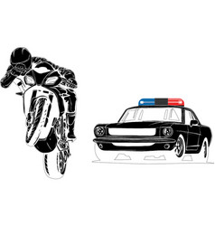 Black silhouette police car is chasing vector