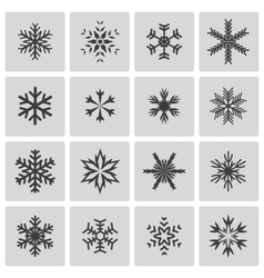 black snowflake icons set vector image