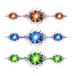 Blue green and red techno style explosions on vector