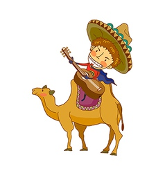 boy sitting on camel vector image
