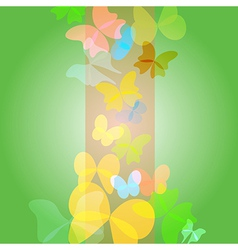 Bright green background with butterflies vector