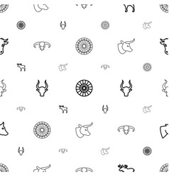 Bull icons pattern seamless white background vector