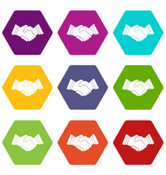 business handshake icon set color hexahedron vector image
