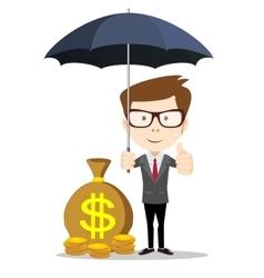 Businessman standing with umbrella vector image